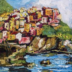 Manarola is the 2nd of five towns that make up the Cinque Terre in Italy. Starting in the south with Riomaggiore, followed by Manarola, next Corniglia, then Vernazza and last Monterrosso.  This is an original oil painting. it has sold. I take commission requests at ginette@ginettefineart.com / ginettecallaway.com