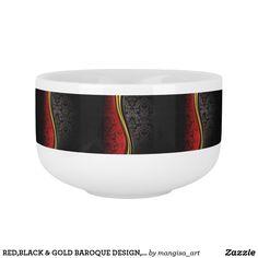 RED,BLACK & GOLD BAROQUE DESIGN, ELEGANT SOUP MUG
