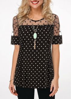 Shop Womens Fashion Tops, Blouses, T Shirts, Knitwear Online Polka Dot Shorts, Polka Dot Blouse, Polka Dots, Clothing Items, Trendy Tops For Women, Blouses For Women, Ankara Short Gown, Looks Chic, Plus Sized Outfits
