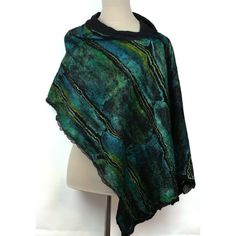 Nuno Felted Hand Dyed Silk Scarf Shawl Blue Aqua Green by ZMFelt, £70.00