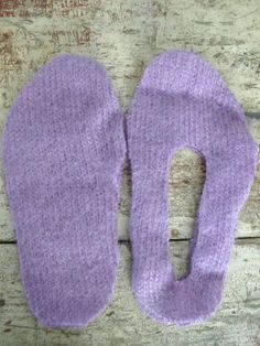 #3 of 9   Pin the patterns onto the sweater, cut out two of each shape. http://www.craftstylish.com/item/40130/how-to-make-snuggly-slippers-from-old-sweaters/page/all  #old-sweater