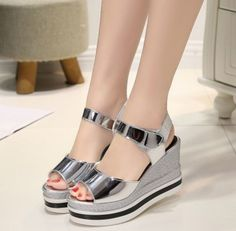 New Fashion Womens Shoes Sandals Wedge Heels Patent Leather Chic Party Sz Ankle Strap Shoes, Strap Sandals, Women's Shoes Sandals, Mode Kimono, Heeled Espadrilles, Beaded Shoes, Summer Shoes, Open Toe Sandals, Girls Shoes