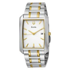 Bulova Men's 98B123 Bracelet White Dial Watch Bulova. $97.79. Quality Japanese-quartz movement. Water-resistant to 99 feet (30 M). Stainless steel case and bracelet. Water resistant to 100 feet. Curved mineral crystal with gilt metalized rim. Save 70%!