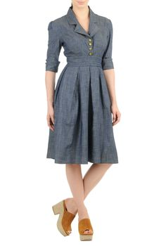 eShakti Women's Retro chambray shirtdress XS-0 Regular Indigo
