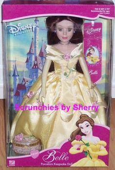 Disney Princess Belle Porcelain Doll Brass Key Rare MIB