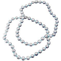 Gray Pearl & Turquoise Necklaces - Set of 2 ($6,450) ❤ liked on Polyvore featuring jewelry, necklaces, turquoise necklace, pearl cord necklace, turquoise jewelry, turquoise pearl necklace and pearl necklace set