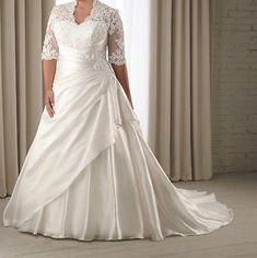 Plus Size Lace White/Ivory Wedding Dresses Half Sleeve Bridal Gown Bride Dresses
