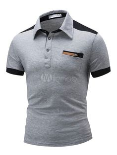 8319df477c6 Polo de algodón de color-blocking de cuello vuelto con manga corta estilo  informal Modelo Estándar para ocasión informal