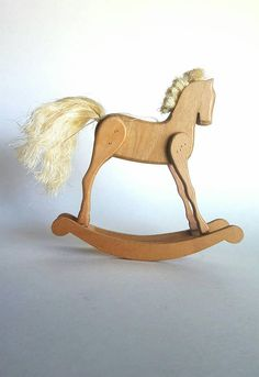 Vintage Rocking Horse Christmas Ornament Natural Wood Holly Sprig Real Horse Hair Straw Mane Tail Ki