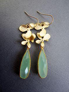 Orchid Earrings, Orchid Jewelry, Aqua Green chalcedony on double golden orchid leaf connectors, long earrings, gemstone jewelry by Muse411 on Etsy https://www.etsy.com/listing/172782276/orchid-earrings-orchid-jewelry-aqua