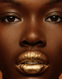 Suede Magazine by Michael Williams #suede #gold #goldbeauty #darkskinnedmodel #goldlips #beauty