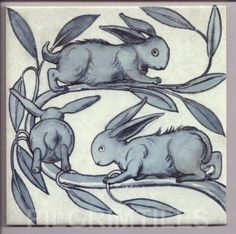 William De Morgan Baby Rabbits Tiles Kitchen Bathroom Fireplace Blue/Grey #ebay #Home & Garden