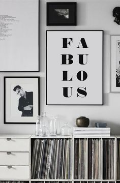 Fabulous typography print black and white wall by frameitposters
