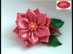 МК цветок в горох Канзаши Цветы из лент DIY Kanzashi Ribbon flowers - YouTube