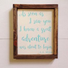 Great Adventure Sign, A.A. Milne, Winnie the Pooh, Storybook Collection, Nursery Sign, Engagement Sign, Farmhouse, Rustic by ParLaGrace on Etsy