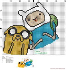 Jake and Finn Adventure Time cross stitch pattern - free cross stitch patterns