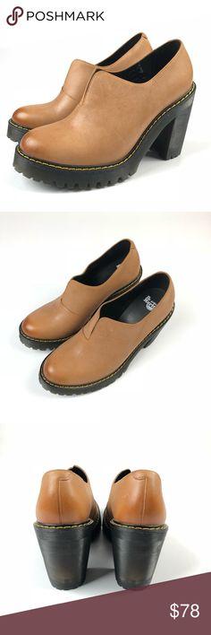 "Dr. Doc Martens Tan Cordelia Slip on High Heels 9 New without box. Dr. Martens Cordelia shooties Size 9 Apx: Insole 10 1/4"" toe to heel. 4 1/4"" heel Dr. Martens Shoes Heels"