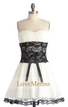 White black lace formal short prom/evening/party/bridesmaid/dress/ballgown bow tie knee-length on Etsy, $89.64 CAD