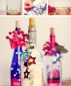 Wine bottles centerpieces - Centros de mesa de botellas de vino