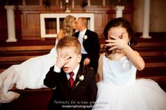 Flower girl and Ring Bearer photo. Cute!