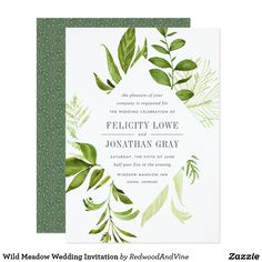 Shop Wild Meadow Wedding Invitation created by RedwoodAndVine. Personalize it with photos & text or purchase as is! Spring Wedding Invitations, Botanical Wedding Invitations, Watercolor Wedding Invitations, Custom Invitations, Invites, Color Of The Year 2017, Damask Wedding, Greenery, Summer Weddings