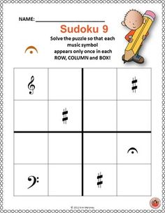 Music Puzzles: SUDOKU 4 x 4! ♫ CLICK through to preview or repin for later! ♫