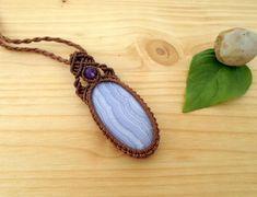 Blue lace agate macrame pendant macrame stone gemstone