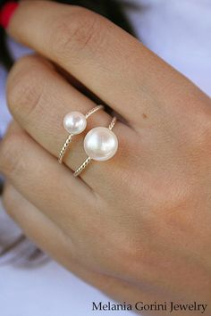 Sterling silver adjustable ring with 2 freshwater pearls by MelaniaGoriniJewelry