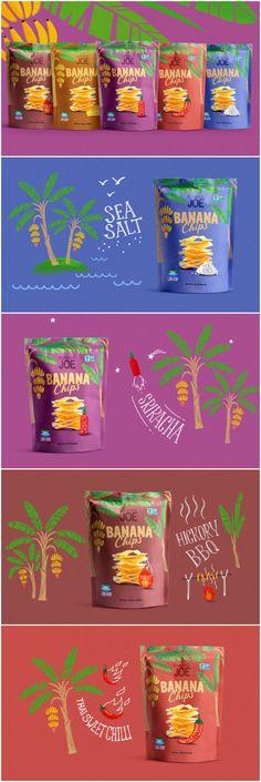 Chip Packaging, Packaging Snack, Food Packaging Design, Banana Snacks, Banana Chips, Banana Fruit, Banana Recipes, Banana Bread, Snack Brands