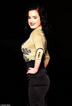34bda8f37201 Dita Von Teese shows off her curves in glittering thigh slashed dress
