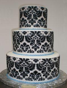 damask print wedding cake. Cooool! by trudy