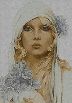beauty with blue flower Just Cross Stitch, Cross Stitch Kits, Cross Stitch Charts, Cross Stitch Patterns, Cross Stitching, Cross Stitch Embroidery, Nostalgic Art, Stitch Pictures, Moon Art