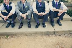 touches of purple for the groom and groomsmen