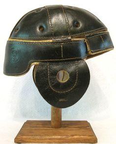 Old Antique Early 1920's Black Leather Football Helmet Vintage | eBay