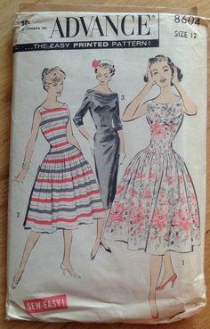 Vintage 50s Advance 8604 Sewing Pattern Women' Dress by clarysage
