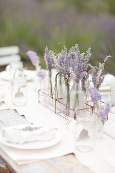 Shabby chic dining with lavender
