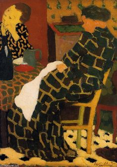 'Mother and Daughter at the Table',   - 1891 - Oil On Panel by Edouard Vuillard (1868-1940, France)