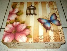 Caja Decoupage Box, Decoupage Vintage, Painted Boxes, Wooden Boxes, Tole Painting, Fabric Painting, Stencil Art, Stencils, Easy Crafts