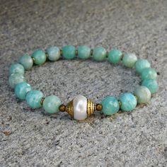 Amazonite gemstones, African trade beads, and Tibetan capped pearl guru bead mala bracelet  #lovepray #jewelry