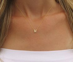 Tiny gold initial necklace Gold letter necklace by HLcollection
