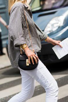 Street Style | Jennifer Neyt: striped button-down shirt x white skinny jeans x chloé dre bag