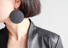 Large black disc earrings- Minimal oversized black leather earrings by SurondStudio on Etsy