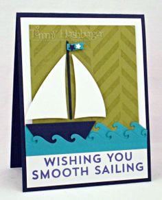Card nautical sea ocean sailing ship boat MFT sailboat Die-namics #mftstamps waves Color Throwdown