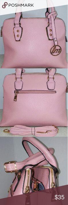 "Pastel Pink Satchel Handbag Brand New Pastel Pink Handbag Triple Gold Tone Zipper Closures Back zipper Pocket High quality soft leather like material Additional strap 11"" W 10""L Bags Satchels"