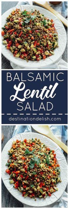 Balsamic Lentil Salad   Destination Delish – an easy salad or side dish of hearty lentils and fresh veggies, tossed in a balsamic vinaigrette dressing