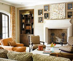 Herringbone Pattern Inside the Fireplace! Very Cool! BHG