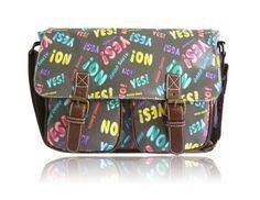 Amazing 'Yes' 'No' Print Satchel – GREY! – Ladies Anna Smith Yes No Comic Print Messenger Bag Saddle Bag School Bag Handbag