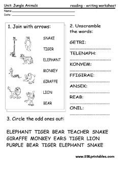 English Worksheets Animals The Jungle Book Kieran