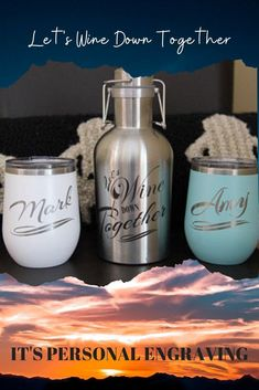 Take this beautiful growler set to the beach, on the boat, by the lake, anywhere! Swing-top lid locks securely in place to prevent leaks. Holds full 750ml bottle of wine, or any other beverage! Wine tumblers are double-walled, vacuum insulated with sweat-free technology. Designs are laser engraved so they don't fade or peel like vinyl.   #wine #giftset #personalized #gifts #birthday Personalized Wine, Customized Gifts, Custom Gifts, Personalized Wedding, Stainless Steel Growler, Wine Down, Insulated Cups, Swing Top, Engraved Gifts