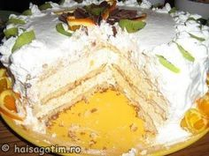 Tort cu portocale Camembert Cheese, Sweet Treats, Dairy, Cooking, Food, Sweets, Pineapple, Kitchen, Candy